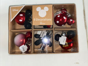 SALE ! Disney 6 Mickey Minnie Mouse Christmas Bauble Decoration Glitter Red