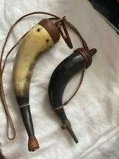 Two Antique Black Powder Horns  - sold as set