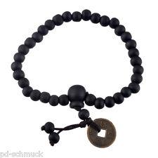 1 Herren Armband Perlen Armkette Armschmuck Buddha Stretch Münzen Schwarz 18cm