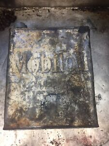 Mobil Oil Vintage Petrol Tin 1920's Fuel Gasoline Can Embossed 2 Imp Gallons