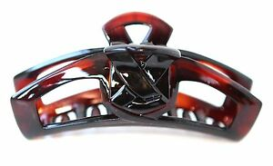 * NO Metal * 4 Inch Made In France Celluloid Tortoise Claw Clip Hair Clip T5