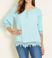 Crossroads Aqua Blue Lace Hem Blouse With Scoop Drawstring Neckline Size 16
