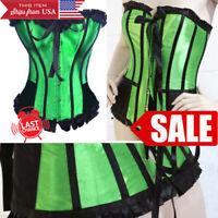 Costume Maid Red Stripe Costume Satin Waist Belt Ruffled Trim Bone Corset S-XL