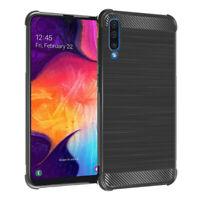 """Coque Etui Silicone Souple en Fibre de Carbone Samsung Galaxy A50 SM-A505F 6.4"""""""
