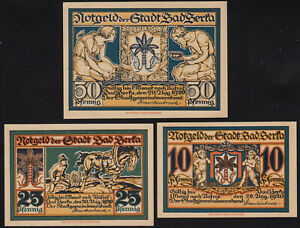 1920 Bad Berka Germany Notgeld Lot 3 Rare Emergency Money Banknote Complete Set