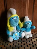 1981 VINTAGE SMURF Smurfette Plush Stuffed & Pinback Button PEYO Wallace Berrie