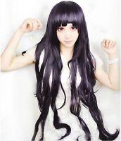 Dangan-Ronpa tsumiki mikan 100cm dark purple long wavy cosplay wig  &21