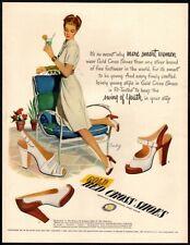 1947 Gold Red Cross Shoes - Nostalgia - Footwear - Original VINTAGE AD