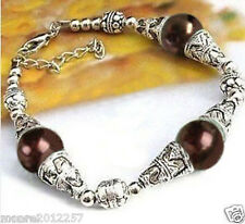 Beautiful Tibet silver Chocolate Shell Pearl bracelet 7""