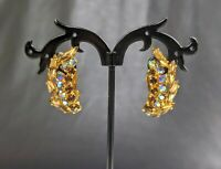 Angel wings Vintage Jewellery Aurora Borealis Rhinestone clip Earrings
