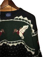 Vtg Rare 80's Woolrich Sweater Mens XL Duck Mallard Crewneck 100% Wool Hunting