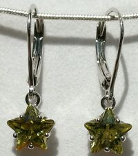 Sparkling Peridot Yellow CZ Sterling Silver Lever Back Star Earrings