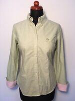 Tommy Hilfiger Damen Hemd Bluse S 36 38 Tailliert Mint Grün Rosa Button Down Top