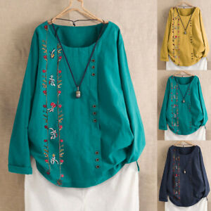 UK Womens Long Sleeve Linen Cotton Blouse Shirt Embroidered Tunic Tops Plus Size