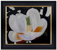 Framed, Quality Hand Painted Oil Painting Jumbo White Magnolia Flower 20x24in