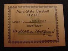 Multi-State Baseball League-Press Pass-Essex Virginia-1940's?