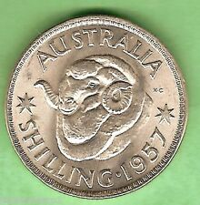 UNCIRCULATED 1957  AUSTRALIAN SILVER ONE SHILLING COIN