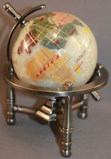 Multi-Gemstone 90mm Desktop Globe in White Pearl - Pewter Tone Base Free S&H