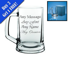 Personalised Engraved Glass Tankard Christmas Wedding Best Man Birthday Gift