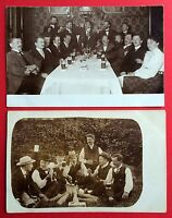 2 x Foto AK Gruppenbild Kegelbrüder beim Bier trinken Kegeln Typen   ( 4942