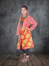 Women's Vintage Indian Blazer Kantha Cotton Quilted Jacket Handmade Long Coat