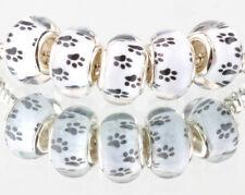 5pcs Dog feet SILVER MURANO bead LAMPWORK fit European Charm Bracelet AA117