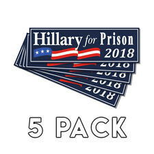 Anti Hillary For Prison Blue Bumper Sticker 2018 Decal 5 Pack Lock Her Up