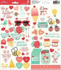 """Pebbles """"We Go Together"""" Icon & Phrases Stickers 60pc Love Heart American Crafts"""