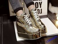 2018 Women's Ankle Boots Platform Wedge Heel Thick Lace Up Shoes Round Toe New X