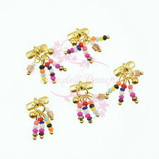 10pcs Colorful Plastic Beads Decor Tassel Style Metallic Nail Art Jewelry Charms