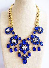 Flor Azul Burbuja Diamante Cristal Babero Moda Collar Cadena de oro