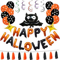 1 Set Happy Halloween Decorazione Pipistrello Palloncino Festa Appeso Lettera #