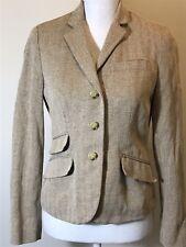 Ralph Lauren Chaps Women's Tan Tweed Herringbone Blazer Sz 8 Petite Equestrian F