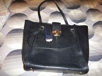 M & S Collection Black Leather Shopper Bag RARE!!!!