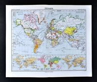 1911 Stieler Map - World Political Countries - Telegraph Cables & Steamer Routes