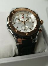 NEW Michele Jelly Bean Large Tahitian Black Rose Gold Silver Watch MWW12F000059