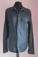 VTG Ladies CALVIN KLEIN Blue Denim Longsleeved Zip Up Shirt Size Medium
