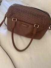 Cole Haan Women's Leather Handbag Woven Satchel With Cross Body Strap EUC!