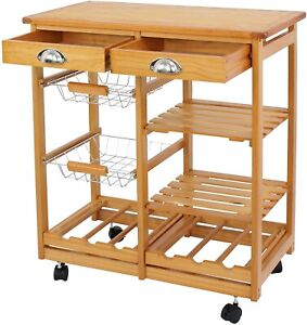 Rolling Wood Kitchen Island Storage Trolley Utility Cart Rack Dining Portable