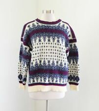 Vtg Dale of Norway Cream Nordic Pullover Wool Sweater Size M Blue Burgundy
