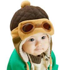 Toddlers Cool Baby Boy Girl Infant Winter Pilot Warm Cap Hat Beanie(Coffee) AU