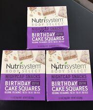 (3) Nutrisystem Body Select NIGHTCAP Snacks BIRTHDAY CAKE SQUARES 5 Each Box Q
