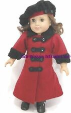 Burgundy Wool Victorian Coat+Tam Hat Fit's 18 in American Girl Doll Clothes
