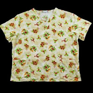 Best Medical Wear Scrub Top Womens Size XL Christmas Holly Candy Cane Gold Snow