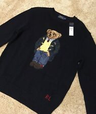 New With Tags $265 Polo Ralph Lauren Bear Sweater Navy Limited Edition Medium