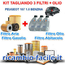 KIT TAGLIANDO PEUGEOT 107 1.0 BENZINA FILTRI + 3 LT OLIO Q8 10W40 50 KW 68 CV
