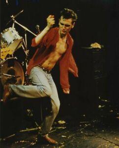 Morrissey Candid 1980's in Concert Open Shirt Vivid Color Vintage 8x10 Photo
