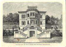Stampa antica SANREMO Villino Lirio Dragonetti Imperia 1875 Old antique print
