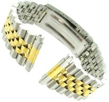 16-22mm Kreisler Two-Tone Stainless Non-Allergy Fold Clasp Mens Watch Band 402T