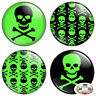 "Green Skull & Crossbones 1.25"" Pinback Button BADGE SET Novelty Pins 32 mm"